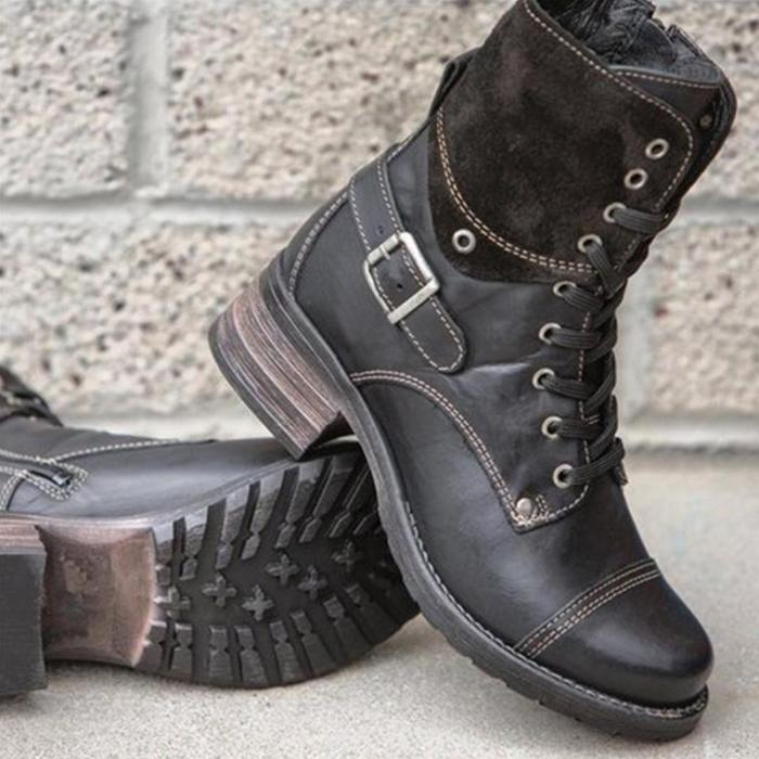 Casual Pu Lace-Up Buckle Med Chunky Cowboy Boots