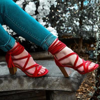 Summer Fashion Lace Tassle Detail Hollow High Chunky Women Sandals