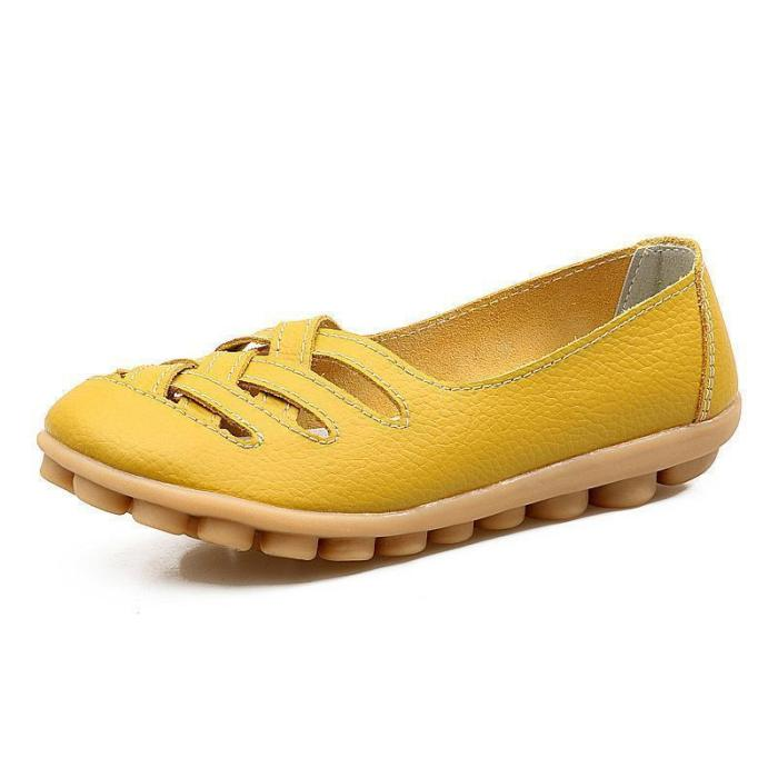 Larger Size Soft Breathable Slip On Hollow Out Flat Shoes
