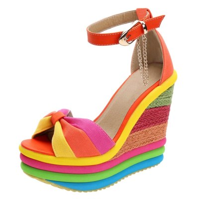 Women's Ladies Wedges High PatchworkSandals Peep ToeRomanShoes sandals high heels
