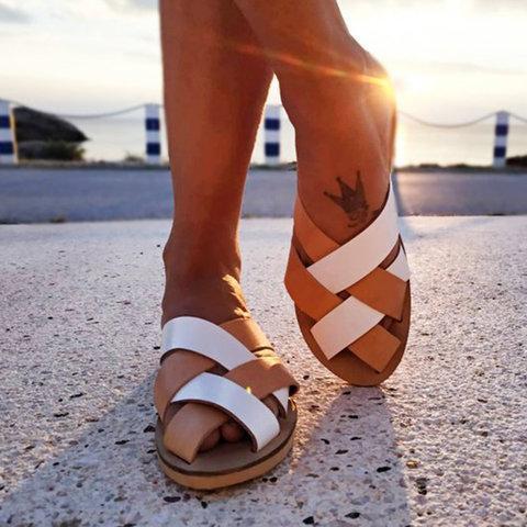 Casual Handmade Slip On Peep Toe Slide Sandals