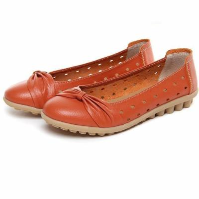 Woman Summer Flats Hollow Out Comfortable Soft Genuine Leather Loafers