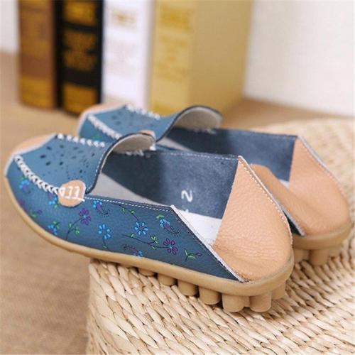 Floral Print Ati-slip PU Slip-on Loafers