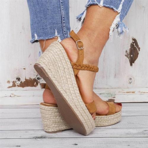 Straw Open Toe Versatile Platform Sandals