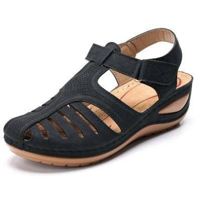 Woman Summer Leather Vintage Sandals Buckle Casual Sewing Solid Women Shoes