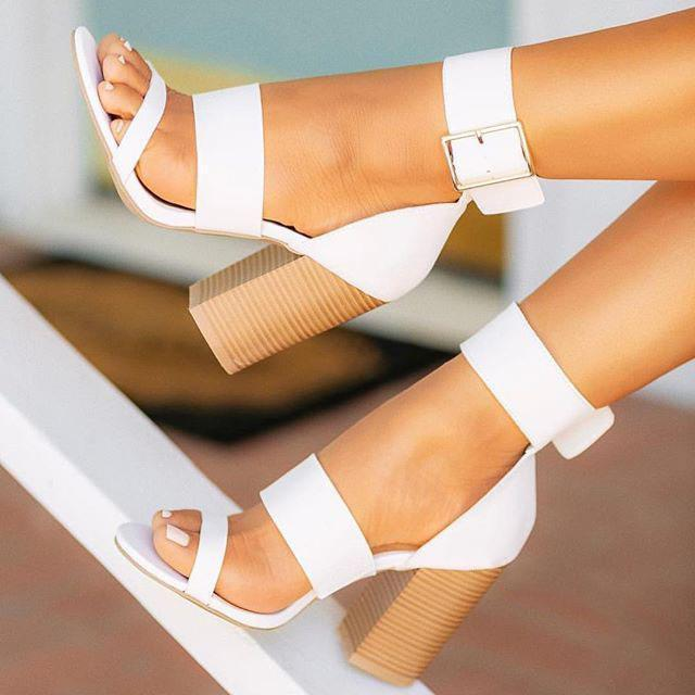 Ankle Buckle Strap High Chunky Heels Women Sandals