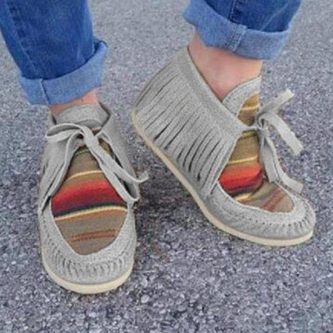 Light Khaki Suede All Season Flat Heel Daily Flats