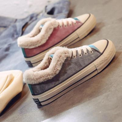 Color Stitching Cotton Flat Heel Sneaker Boot Women Shoes