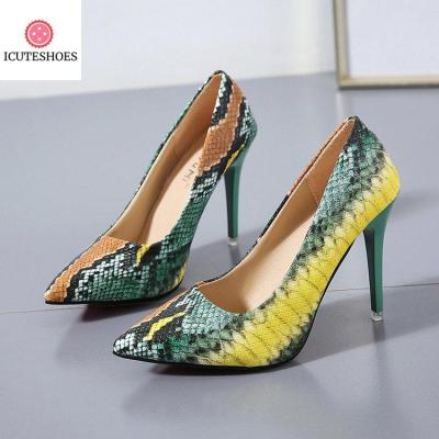 PU Leather Pointed Toe Pumps Snake Printing Female Shoes
