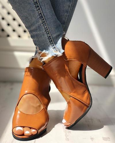 Peep Toe Cutout Rivet Chunky Heeled Boot