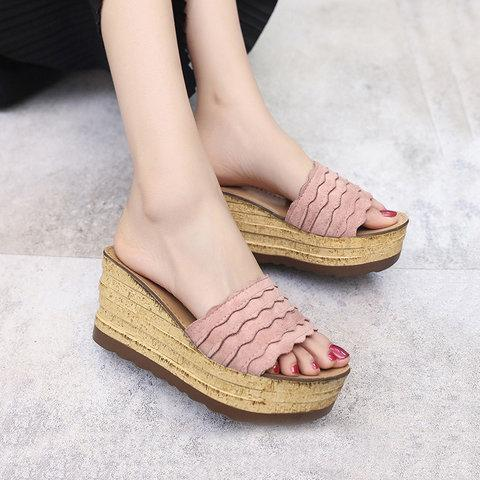 Elegant Faux Suede Wedge Heel Slippers