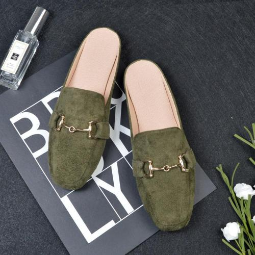 Spring and Autumn New Flat Slippers Women's Cozy No Heel Muller Shoes In Summer