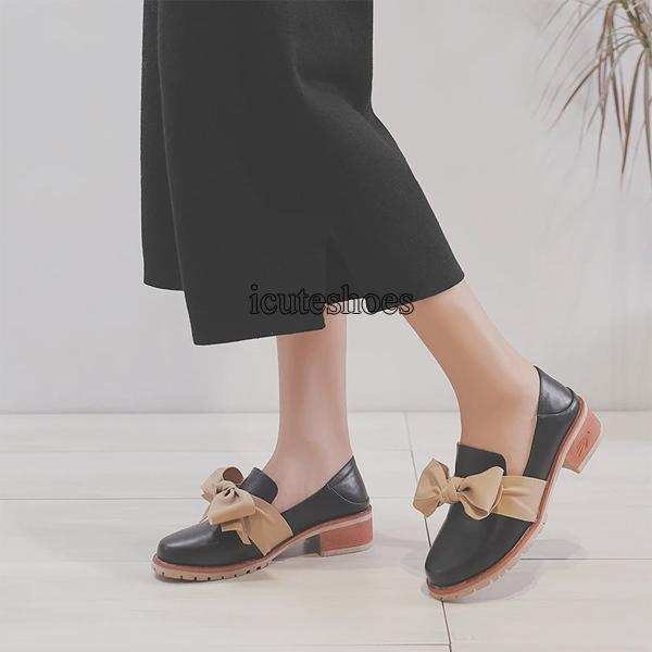 2020 New Small Leather Shoes British Style Chunky Heel Shallow Single Shoes Women's Shoes.