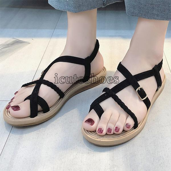 Rome Shoes Flat Heel Sandal Wild Cross Straps Clip Toe Beach Shoes