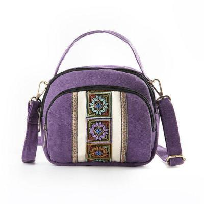 National Style Canvas Three-Layer Shoulder Bag Shell Bag