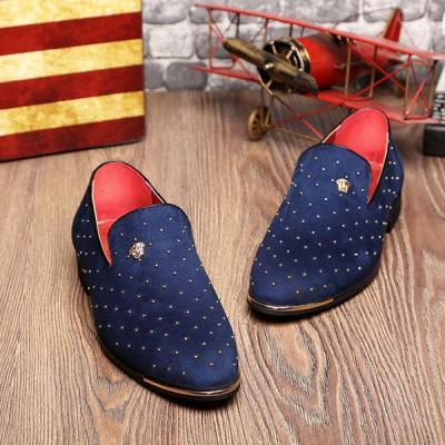 Men Suede Rivet Pointed Toe  Formal Shoes Slip On Casual Loafers