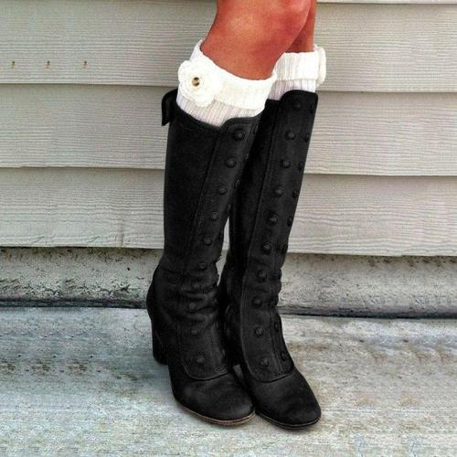 Women Winter Vintage Boots Casual Zipper Chunky Heel Shoes