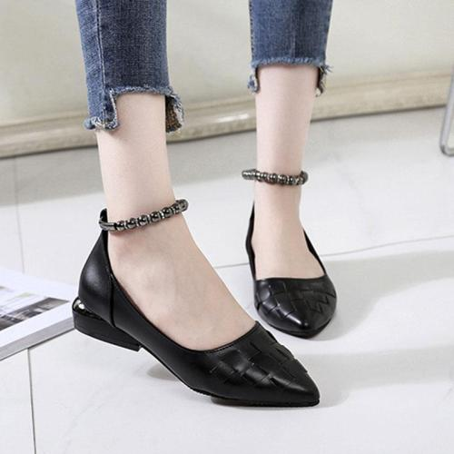 Plain  Chunky  Low Heeled  Ankle Strap  Point Toe  Date Flat & Loafers