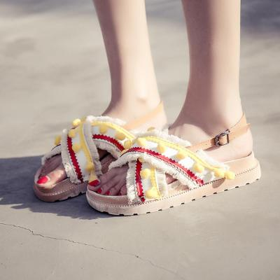 Vintage Sandals Shoes Female Women Ethnic Style Tassel Hairball Sandals