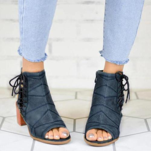Women Hollow Out Zipper Chunky Sandals