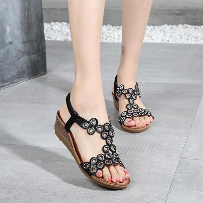 2020 Summer New Bohemian Slope Heel Sandals Comfortable Large Cross-border Sandals