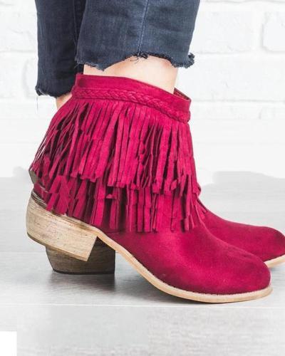 Solid Heeled Tassel Ankle Booties