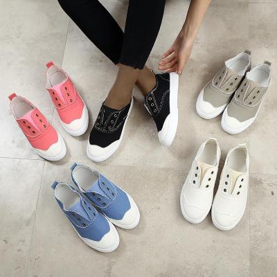 Women Round Toes Slip On Shoes Canvas Sneakers