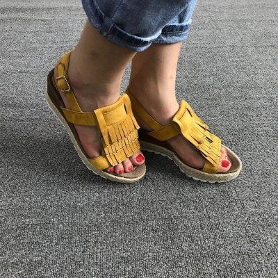 Lemon Yellow Tassle Buckle Flocking Upper Platform Sandals