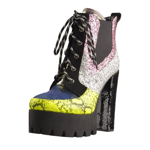 Multicolor Sequin Splice Platform Round Toe Chunky Heel Elastic Ankle Boots