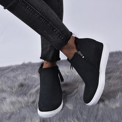 Hidden Wedge Heel Shoes With Zipper