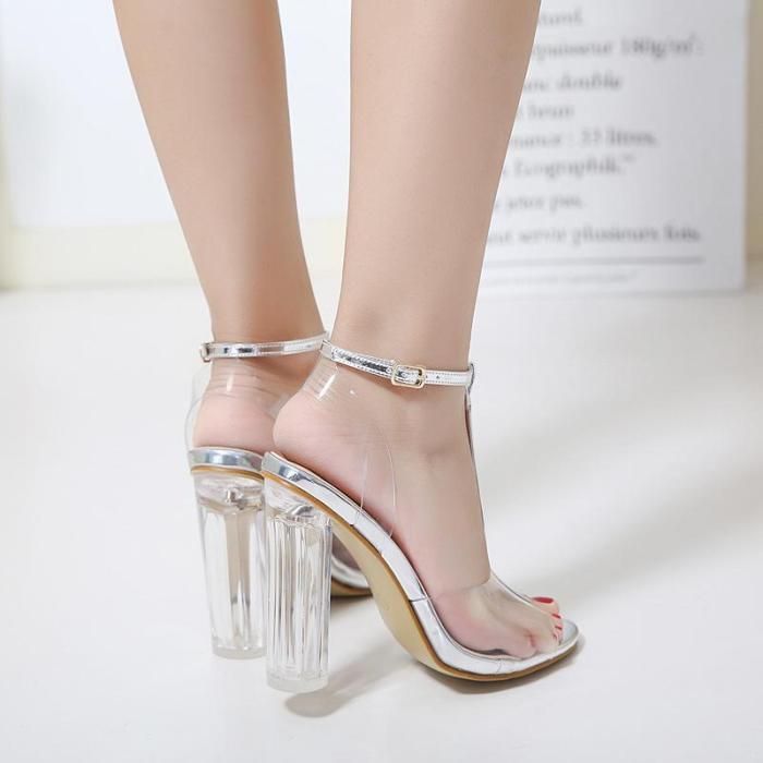 Ziling Sandal Shoes Model T-belt Transparent Crystal Heel High-heeled Sandals
