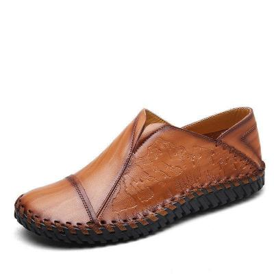 Men Hand Stitching Stylish Cap-toes Vintage Flat Slip On Casual Loafers