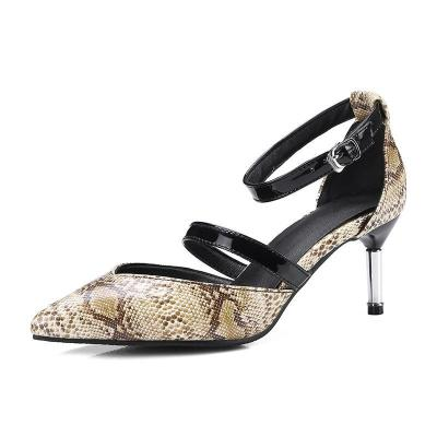 Snakeskin Pattern Pu Cone Heel Pointed Toe Cocktail Party Heels