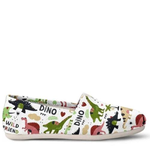Women Cartoon Dinosaur Comfy Canvas Loafers Shoes