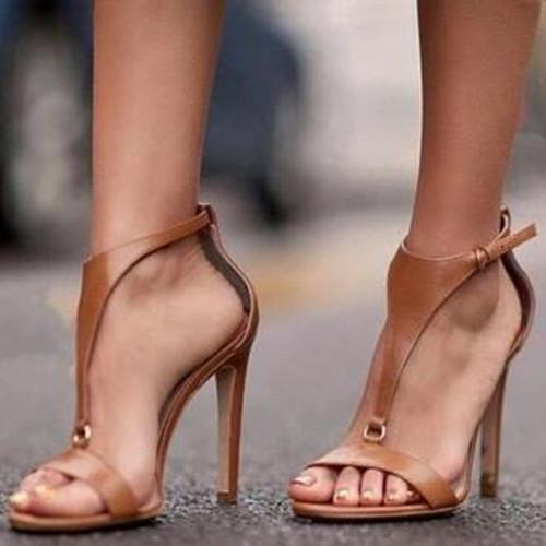 Women Middle Heel Artificial Leather Sandals