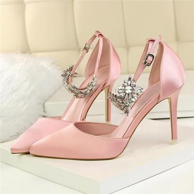 Silk Pointed Toe Wedding Shoes Women Buckle Strap Crystal Party Shoes