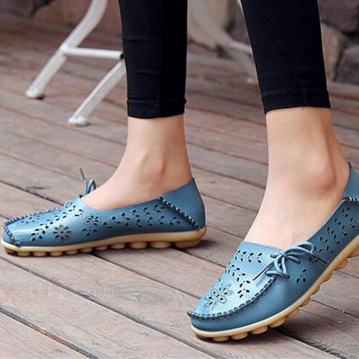 Women's Hollow-out Bow Trim Summer Flat Shoes