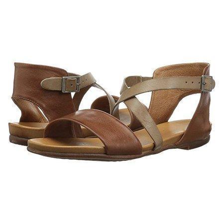 Vintage Crossed Adjustable Buckle Shoes Color Block Flats Sandals Plus Sizes