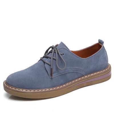 Women Lace Up Faux Suede Pure Color Casual Flat Non-slip Shoes
