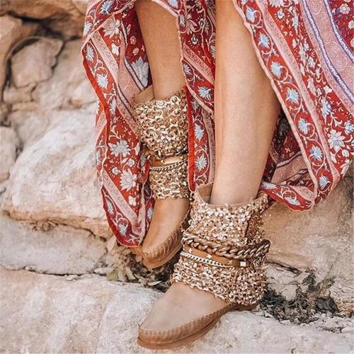 Women's Retro Stitching Chain Flat Boots