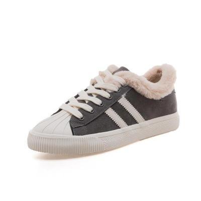 Womens Faux-fur Warm Flat Sneakers