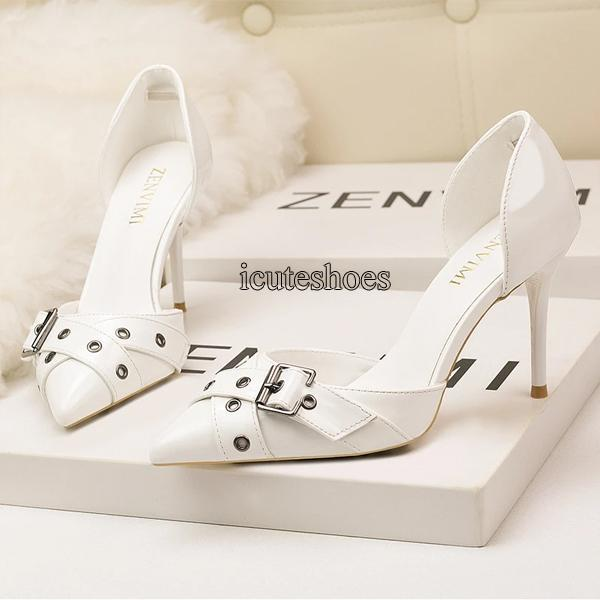 Fashion Elegant Women's Shoes Pointed Shallow Heel High Hollow Belt Buckle Night Sandals