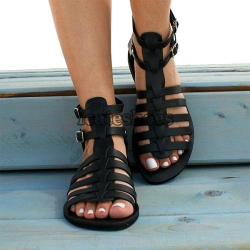 Flat Beach Sandals Ladies Fashion Roma Flat Solid Peep Toe Sandals