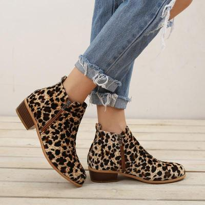 Leopard Solid Slip-on Low Heels Ankle Boots