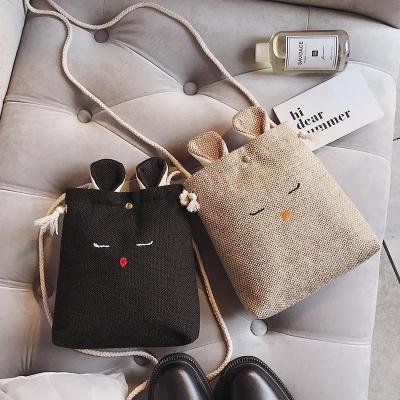 Creative Rabbit Linen Messenger Bag Phone bag