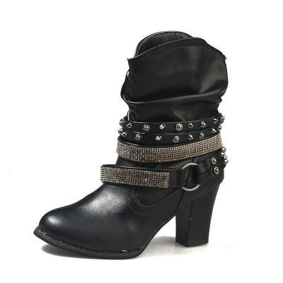 Coffee PU Rivet Daily Women High-heeled Boot Casual Boots