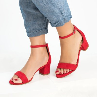 Plus Size Women Pumps Ankle Strap Chunky Heel Sandals