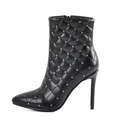 Rivets Lattice Side Zipper High Heel Ankle Boots