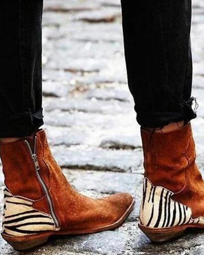 Pointed Zebra Print Ankle Boots