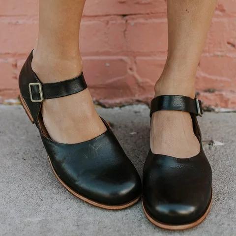 Women Low Heel Pu Low Heel Casual Summer Buckle Flats